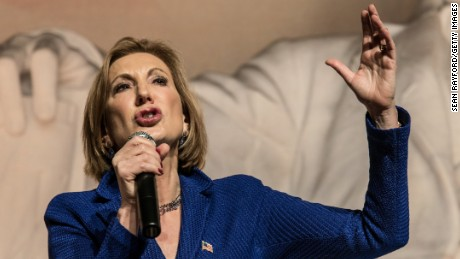 Republican presidential candidate Carly Fiorina speaks to voters at a town hall meeting October 2, 2015 in Aiken, South Carolina.
