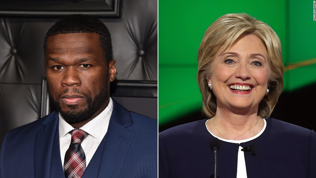 "Rapper 50 Cent announced his support for Clinton, telling <a href=""http://www.thedailybeast.com/articles/2015/05/21/50-cent-backs-hillary-clinton-for-president-it-s-hillary-time.html"" target=""_blank"">The Daily Beast</a>, ""It's Hillary time!"""
