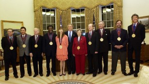 Rafe Esquith, second from right, was among those presented with a National Medal of the Arts by President George W. Bush in 2003.