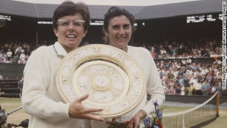 Billie Jean King of the United States holds aloft the Venus Rosewater Dish after defeating Judy Tegart Dalton of Australia in the Women's Singles Final match at the Wimbledon Lawn Tennis Championship on 5 July 1968 at the All England Lawn Tennis and Croquet Club in Wimbledon in London, England. (Photo by Central Press/Getty Images)