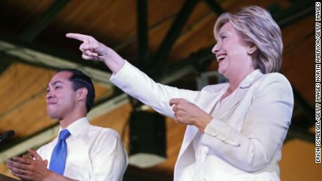 "Secretary of Housing and Urban Development Secretary Julian Castro introduces Democratic U.S. presidential hopeful Hillary Clinton at a ""Latinos for Hillary"" grassroots event October 15, 2015 in San Antonio, Texas."