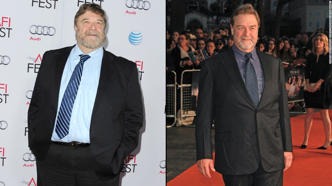 """Roseanne"" star John Goodman is known for his burly frame in addition to his acting chops. Goodman has slimmed down noticeably, as was evident at a screening of ""Trumbo"" in October. The left photo was snapped just a year earlier at a showing of ""The Gambler."""