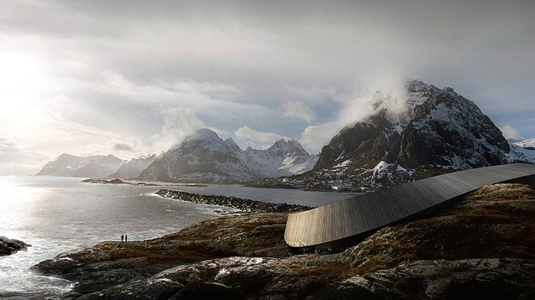 This sleek, snake-shaped architectural marvel will soon offer amazing views of Norway's Lofoten Islands. The 11,000-square-meter Lofoten Opera Hotel will contain a mix of hotel and apartment units, an amphitheater and spa. Though the hotel was due to open in 2015, the completion date has yet to be announced.