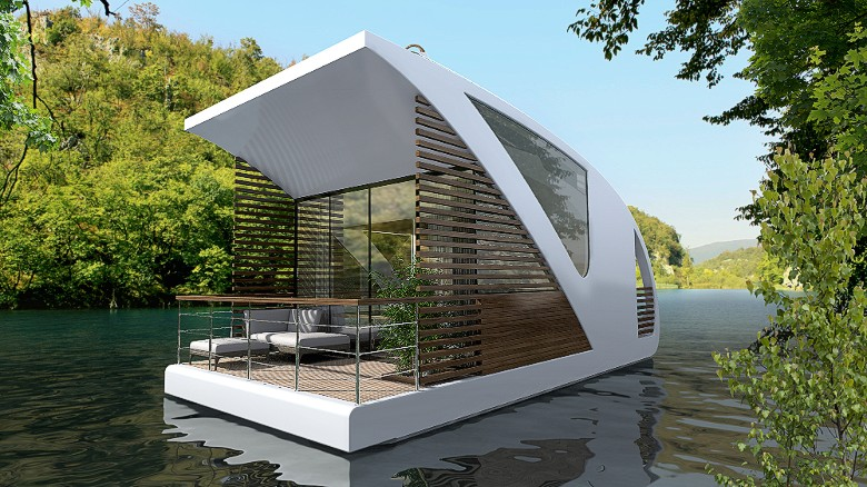 A plan to create a floating hotel with catamaran apartments is in development by Serbian design studio Salt & Water. The concept consists of a central construction with a reception, restaurant and event hall, as well as individual catamaran rooms that guests can navigate away from the property and dock wherever they desire.