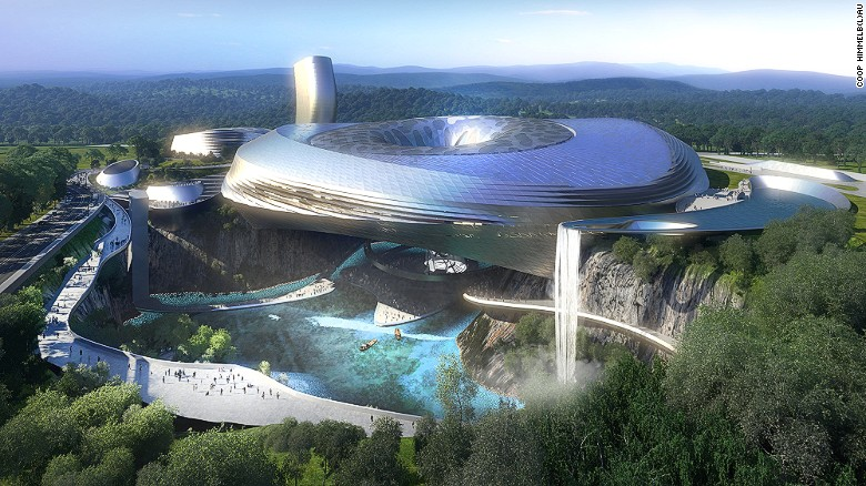 The Deep Pit Ice and Water World, part of the forthcoming Dawang Mountain Resort near Changsha, will be partially suspended over a quarry pit with two contrasting environments: a lake with sunken gardens below and an indoor snow center above. A separate 100-meter-high tower will house a five-star hotel with 330 suites. It's due for completion in 2016.