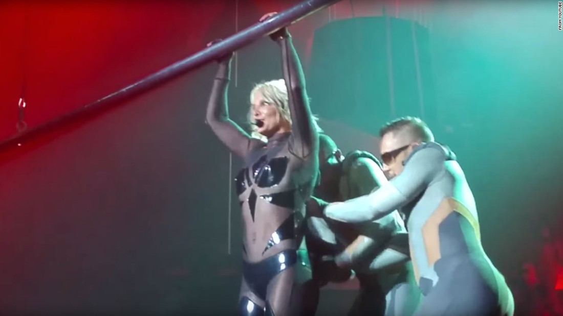 "Backup dancers <a href=""https://youtu.be/U13PbGGU0A4"" target=""_blank"">try to zip Britney Spears back into her bodysuit</a> during a performance at Las Vegas' Planet Hollywood on Friday, October 16. The veteran singer took the wardrobe glitch in stride, finishing up the song ""3"" before heading backstage to get fixed up. Let's take a look at some other infamous clothing mishaps:"