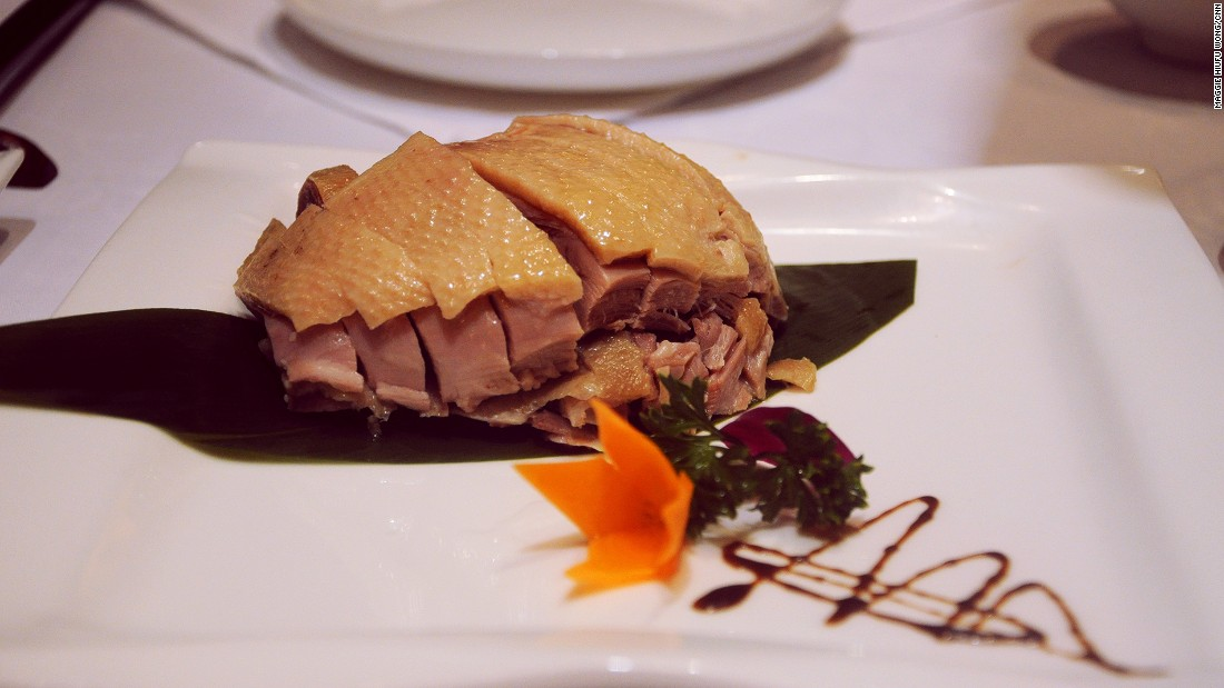 Salted duck is a cold dish usually served as an appetizer or as a snack with alcohol. The best salted duck has pale skin and pink meat, like this.
