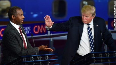 Republican presidential hopefuls  Ben Carson and Donald Trump participate in the debate at the Ronald Reagan Presidential Library in Simi Valley, California, on September 16, 2015.