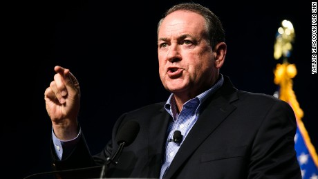 Republican presidential candidate and former governor of Arkansas Mike Huckabee speaks during the Iowa Faith and Freedom Coalition annual banquet and presidential forum  Monday June 22, 2015 in Des Moines, Iowa. (Taylor Glascock for CNN)