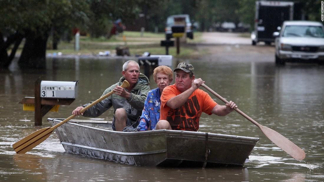 mother Gelene Neckar from her flooded home near Downsville, Texas ...