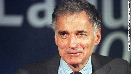 Green Party presidential candidate Ralph Nader smiles at supporters, November 7, 2000, at the National Press Club in Washington. (Photo by Michael Smith/Newsmakers)