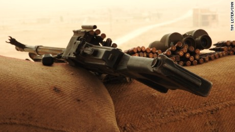 An AK-47 and ammunition belonging to Kurdish YPG fighters battling ISIS in Syria