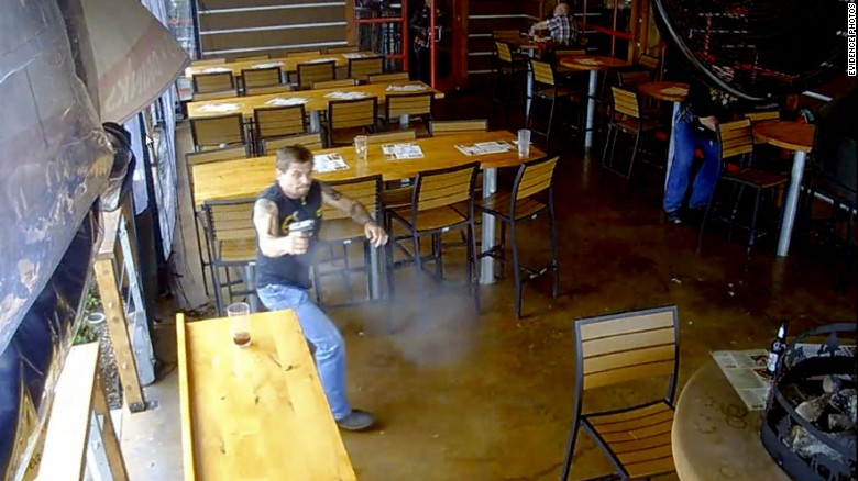 On May 17, 2015, a fight broke out between two rival biker clubs in Waco, Texas. CNN has obtained new video and images of the chaos during and after the brawl. This surveillance footage shows a biker running inside the Twin Peaks restaurant where the deadly fight took place. Authorities have classified both the Bandidos and the Cossacks as gangs.