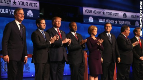 BOULDER, CO - OCTOBER 28:  Presidential candidates Jeb Bush (L-R), Sen. Marco Rubio (R-FL), Donald Trump, Ben Carson,  Carly Fiorina, Ted Cruz (R-TX), New Jersey Governor Chris Christie, and Sen. Rand Paul (R-KY) take the stage at the CNBC Republican Presidential Debate at University of Colorados Coors Events Center October 28, 2015 in Boulder, Colorado.  Fourteen Republican presidential candidates are participating in the third set of Republican presidential debates.  (Photo by Justin Sullivan/Getty Images)
