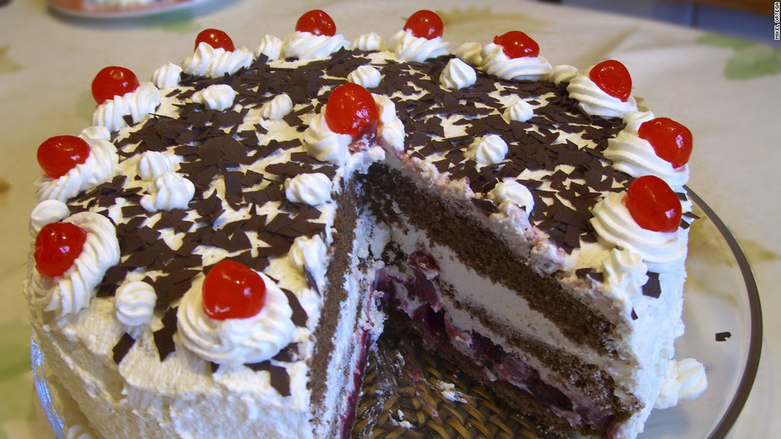 Native to Germany, Black Forest cakes are traditionally made with up to half a cup of a cherry brandy called kirschwasser. Its German name is Schwarzwalder kirschtorte.