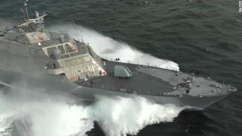 See U.S. Navy warship at top speed