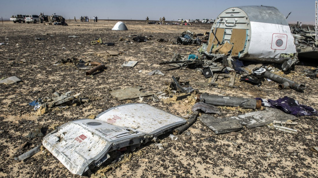 Debris belonging to the A321 Russian airliner is shown at the site of the crash on November 1.