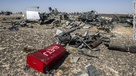 Debris belonging to the A321 Russian airliner are seen at the site of the crash in Wadi al-Zolomat, a mountainous area in Egypt's Sinai Peninsula on November 1.