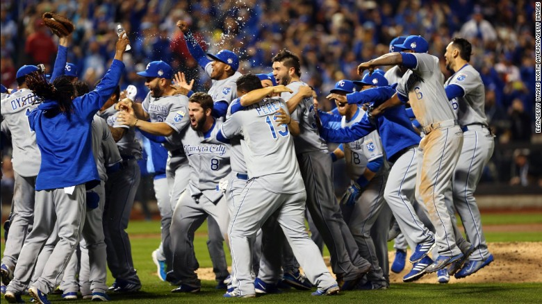 The Kansas City Royals celebrate after defeating the New York Mets 7-2 to win the World Series in New York on Monday, November 2.