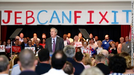 """TAMPA, FL - NOVEMBER 2: Republican presidential candidate and former Florida governor Jeb Bush speaks to supporters during a rally on his """"Jeb Can Fix It"""" Tour on November 2, 2015 at the Tampa Garden Club in Tampa, Florida. Following dropping poll numbers and poor debate performance Bush is trying to reset his campaign that many say has been flailing.  (Photo by Brian Blanco/Getty Images)"""