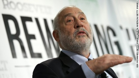 """WASHINGTON, DC - MAY 12:  Nobel-prize winning economist Joseph Stiglitz speaks about the release of a new report he authored that was published by the Roosevelt Institute May 12, 2015 in Washington, DC. The report, titled """"New Economic Agenda for Growth and Shared Prosperity"""", discusses the current distribution of wealth in the U.S. and offers proposals for modifying that distribution.  (Photo by Win McNamee/Getty Images)"""