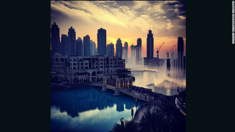 Schlappig spends an average four hours on a plane each day, takes at least one international flight per week, and doesn't like to spend more than three days in one place.<br /><br />Here, he takes a moment to enjoy a sunset water fountain show in Dubai.