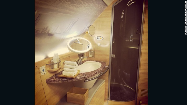 "<strong>Schlappig on his... Most impressive airplane extravagance:</strong> ""It's tough to beat the Emirates A380's on-board shower -- nothing makes me giggle like taking a shower on a plane,"" said the 25-year-old American.<br /><br />""It's pretty surreal to be at 35,000 feet, traveling 500 miles an hour, and taking a shower. The number of toiletries is enough to start its own store. And the floors are heated. It's insane,"" he said of this Instagram picture."