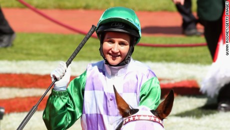 Michelle Payne riding Prince of Penzance celebrates winning Race 7, the Emirates Melbourne Cup, on Melbourne Cup Day at Flemington Racecourse on November 3, 2015 in Melbourne, Australia.