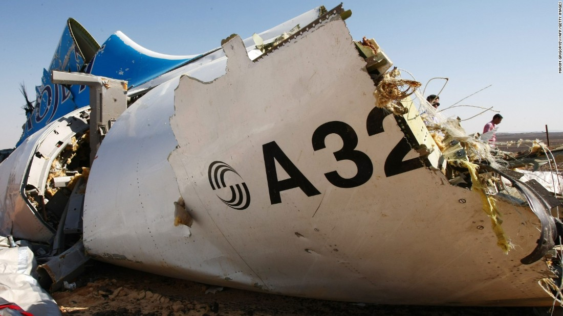 The wreckage of Kogalymavia Flight 9268 is seen in this image provided on Tuesday, November 3. International investigators are trying to determine why the Russian airliner crashed in Egypt's Sinai Peninsula, killing 224 people on Saturday, October 31.