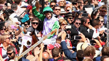 MELBOURNE, AUSTRALIA - NOVEMBER 03:  Michelle Payne riding Prince of Penzance returns to scale after winning race 7, the Emirates Melbourne Cup on Melbourne Cup Day at Flemington Racecourse on November 3, 2015 in Melbourne, Australia.  (Photo by Quinn Rooney/Getty Images)