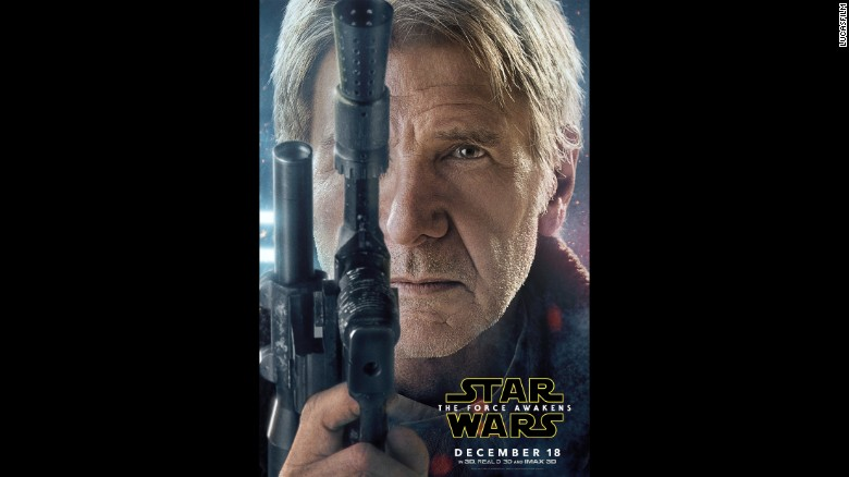"""Another big jolt of """"Star Wars"""" mania came on Wednesday, November 4, when Lucasfilm and Disney released character posters for """"Star Wars: The Force Awakens,"""" including this close-up of Harrison Ford as Han Solo."""