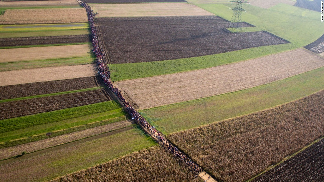 A column of migrants moves along a path between farm fields in Rigonce, Slovenia, on Sunday, October 25.