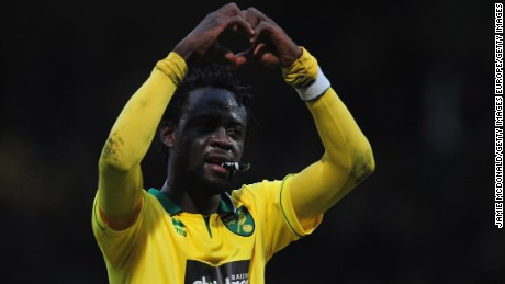 NORWICH, ENGLAND - FEBRUARY 23:  Kei Kamara of Norwich City celebrates victory during the Barclays Premier League match between Norwich City and Everton at Carrow Road on February 23, 2013 in Norwich, England.  (Photo by Jamie McDonald/Getty Images)