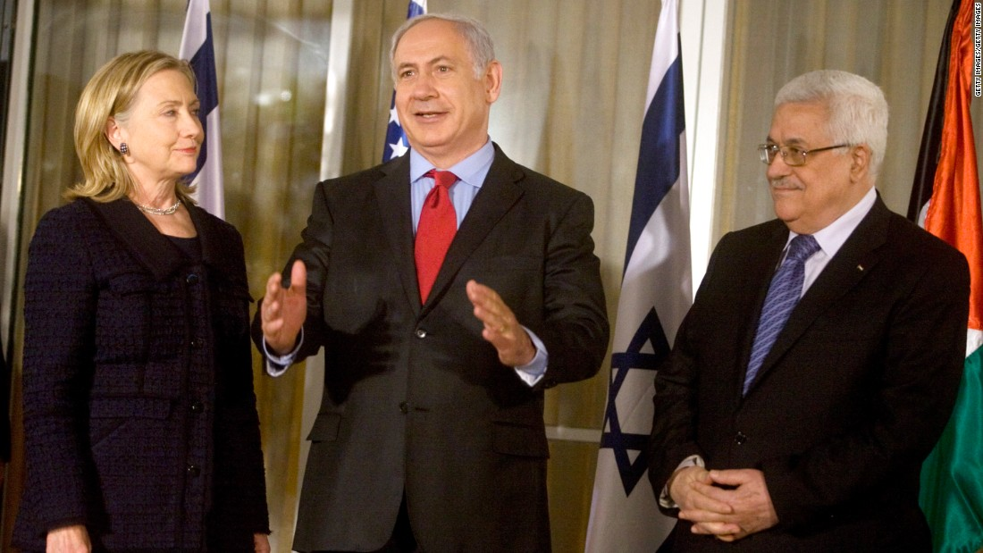 Clinton, Netanyahu and Palestinian President Mahmoud Abbas meet at Netanyahu's residence in Jerusalem on September 15, 2010. <br /><br />Netanyahu and Abbas were deadlocked in peace negotiations over Israeli settlement building.