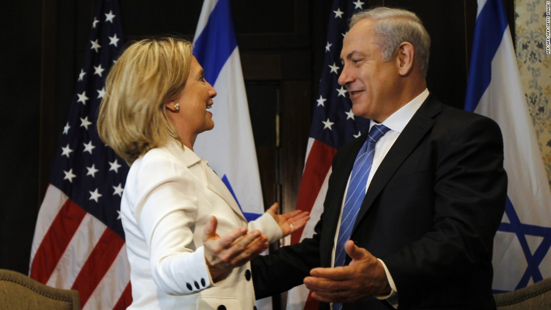 Clinton and Netanyahu greet each other in Sharm el-Sheikh, Egypt, on September 14, 2010, during a second round of Middle East peace talks.