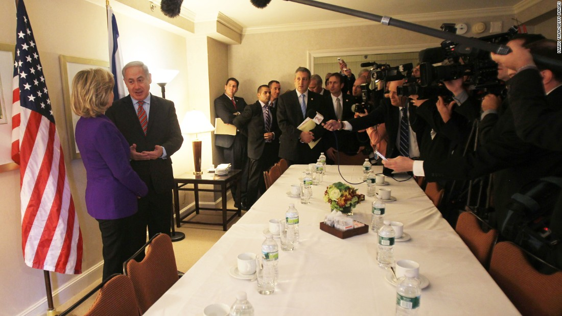 "Netanyahu and Clinton speak with the media prior to a meeting in New York on November 11, 2010. <br /><br />Clinton vowed to find a ""way forward"" on the stalled Middle East peace process as they began their meeting."