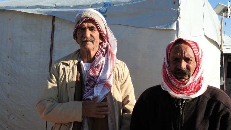 Sharu Baharu, 80, left, fled his home in Sinjar last year when ISIS attacked.
