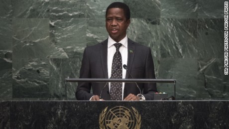 Edgar Chagwa Lungu, President of the Republic of Zambia, addresses the general debate of the General Assemblys seventieth session on September 29, 2015