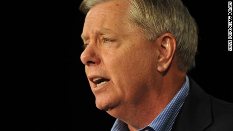 Republican presidential candidate Sen. Lindsey Graham (R-SC)  speaks at the Growth and Opportunity Party, at the Iowa State Fair October 31, 2015 in Des Moines, Iowa.