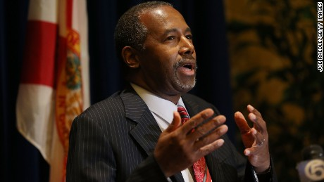 Republican presidential candidate Ben Carson speaks to the media before attending a gala for the Black Republican Caucus of South Florida at PGA National Resort on November 6, 2015 in Palm Beach, Florida.