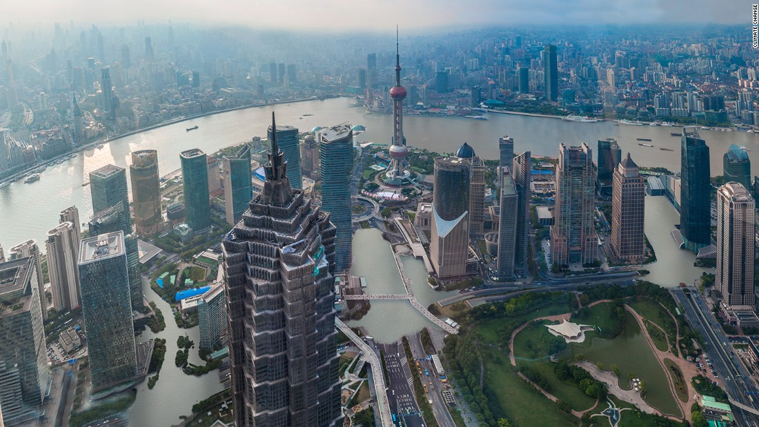 "An artist's impression of how the Chinese city of Shanghai could look if temperatures rise by just two degrees Celsius. The following images show were provided by <a href=""http://www.climatecentral.org/"" target=""_blank"">Climate Central</a> as part of report released November 8, 2015."