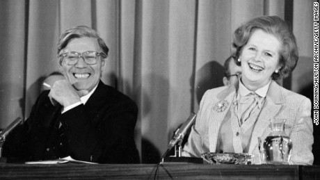 British prime minister Margaret Thatcher at a press conference in Millbank Tower with Helmut Schmidt, the West German Chancellor, 11th May 1979. (Photo by John Downing/Getty Images)