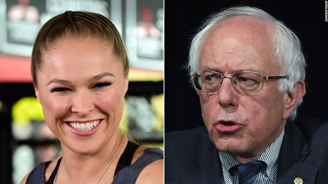"UFC champion Ronda Rousey endorsed Sanders for president.<br /><br />""I'm voting for Bernie Sanders, because he doesn't take any corporate money,"" <a href=""http://www.cnn.com/2015/11/10/politics/bernie-sanders-ronda-rousey-endorsement/"" target=""_blank"">Rousey told Maxim magazine.</a> ""I don't think politicians should be allowed to take money for their campaigns from outside interests."""