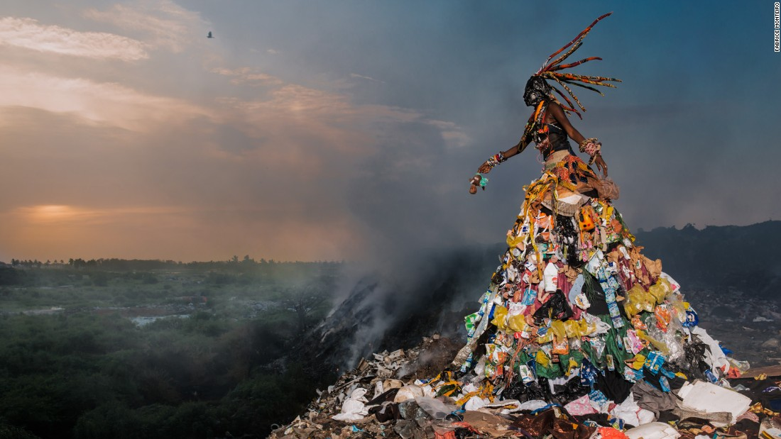 "Photographer Fabrice Monteiro and stylist Doulsy created a photo series called <a href=""http://edition.cnn.com/2015/11/17/arts/photographer-fabrice-monteiro-the-prophecy/"" target=""_blank"">'The Prophecy'</a> to express environmental concerns. In the series, trash is turned into garments of haute couture."