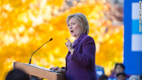 Democratic presidential candidate Hillary Clinton speaks on stage during a rally after filing paperwork for the New Hampshire primary at the State House on November 9, 2015 in Concord, New Hampshire.