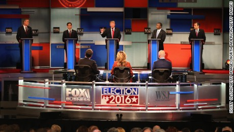 MILWAUKEE, WI - NOVEMBER 10:  Presidential candidate Donald Trump (3th L) speaks while Jeb Bush, Sen. Marco Rubio (R-FL), Ben Carson, and Ted Cruz (R-TX)  take part in the Republican Presidential Debate sponsored by Fox Business and the Wall Street Journal at the Milwaukee Theatre November 10, 2015 in Milwaukee, Wisconsin. The fourth Republican debate is held in two parts, one main debate for the top eight candidates, and another for four other candidates lower in the current polls.  (Photo by Scott Olson/Getty Images)