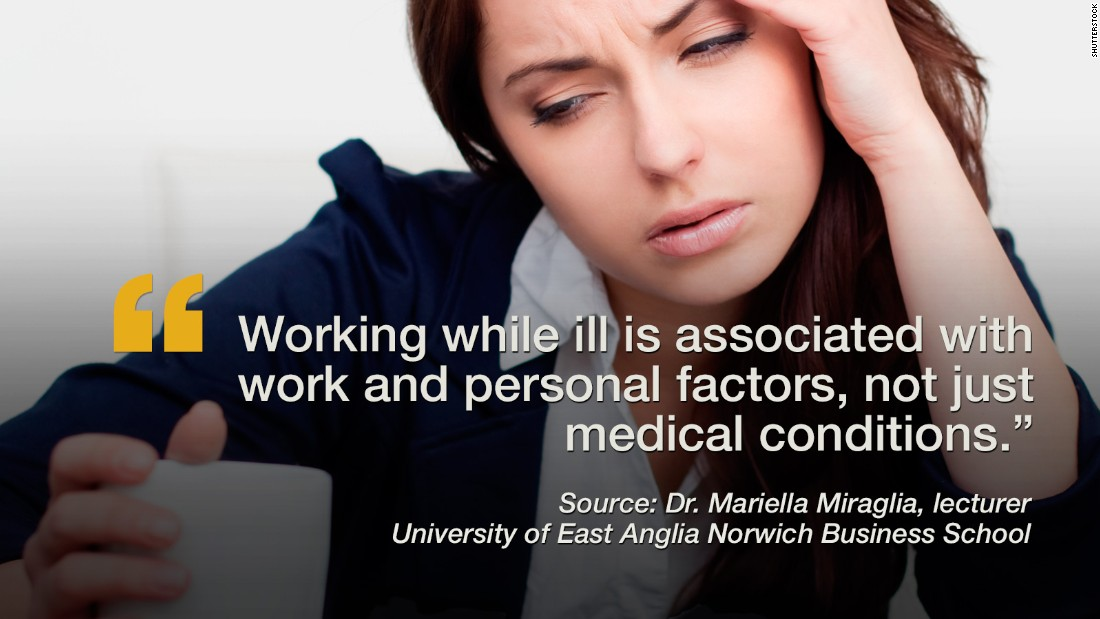 """Despite the commonly known viral consequences of working while sick, many people still do it, and researchers wanted to know why. After mining data from 61 previous studies, Dr. Mariella Miraglia, a lecturer from the University of East Anglia Norwich Business School, believes that people who show up to the workplace in spite of poor health conditions may do so because of the demands of their role, perceived discrimination if absent, and the perceived impact of their work on clients, students or patients. But at the same time, high job satisfaction and a strong sense of commitment to an organization were also motivators for the sick to show up at the office. The <a href=""""http://www.eurekalert.org/pub_releases/2015-11/uoea-rrm110515.php"""" target=""""_blank"""">studies included </a>more than 175,960 participants and also concluded that if an illness is not debilitating or contagious then attending work while under the weather may be positive and self-affirming for people who suffer from chronic illnesses such as migraines or depression. -- Viola Lanier <br /><em><br />Click through the gallery to see additional recent studies.</em>"""
