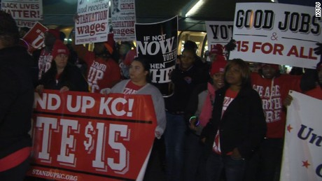 Protesters have been marching in Kansas City, MO since Tuesday, November 10, 2015 to protest low wages for certain workers.