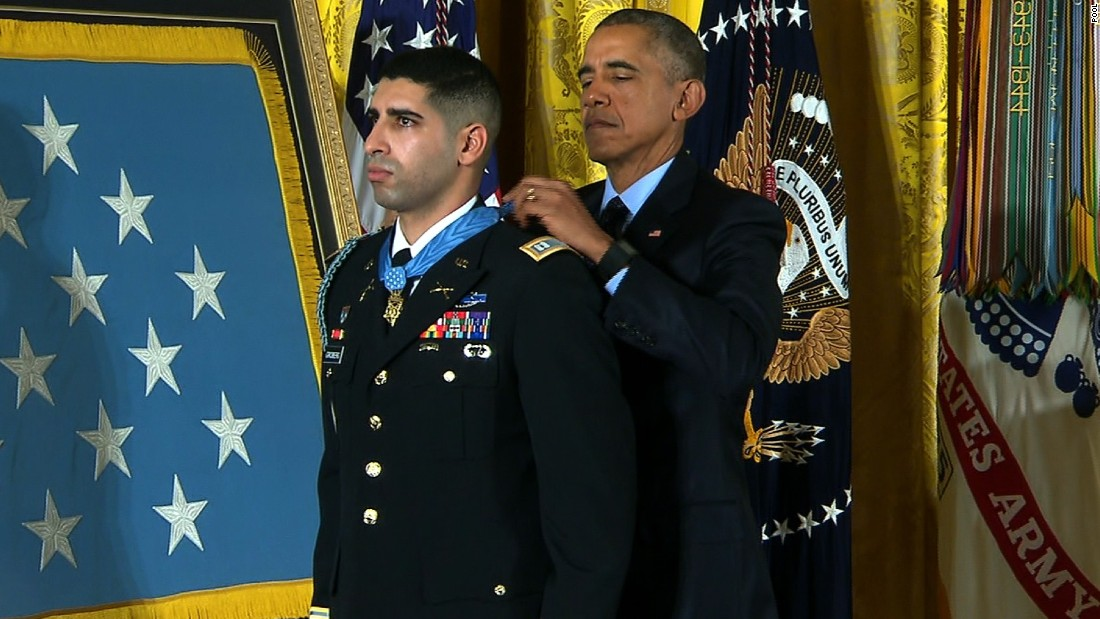 "Army Capt. Florent A. Groberg receives the Medal of Honor from President Barack Obama during a White House ceremony on November 12 for his actions in Afghanistan. Groberg was born in France, lived in Spain and later moved with his family to the United States, where he became a naturalized U.S. citizen in 2001. Groberg <a href=""http://www.army.mil/article/156956/Groberg_to_receive_Medal_of_Honor_for_actions_in_Afghanistan/"" target=""_blank"">saved</a> lives when he tackled a suicide bomber in August 2012."