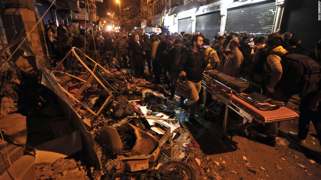 Emergency personnel and civilians gather at the site of a lt;a href=quot;http://www.cnn.com/2015/11/16/middleeast/beirut-explosions/quot; target=quot;_blankquot;gt;twin suicide bombinglt;/agt; in Beirut, Lebanon, on Thursday, November 12. The bombings killed at least 43 people and wounded more than 200 more. ISIS appeared to claim responsibility in a statement posted on social media.